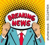 a man in a suit holding speech...   Shutterstock .eps vector #501269404