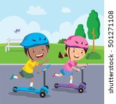 kids learn to ride scooter | Shutterstock .eps vector #501271108