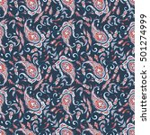 paisley indian style seamless... | Shutterstock . vector #501274999