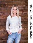 the girl in the studio  posing... | Shutterstock . vector #501275608