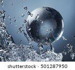 glass globe planet in drop... | Shutterstock . vector #501287950