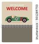 vintage racing car start your... | Shutterstock .eps vector #501289753