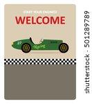 vintage racing car start your... | Shutterstock .eps vector #501289789