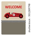 vintage racing car start your... | Shutterstock .eps vector #501289798