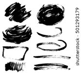 set of black hand drawn brush... | Shutterstock . vector #501293179