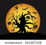 halloween pumpkins on the tree. ... | Shutterstock .eps vector #501307228
