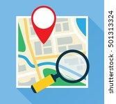 magnifier over navigation map.... | Shutterstock .eps vector #501313324
