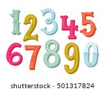 hand drawn vintage numbers set | Shutterstock .eps vector #501317824