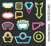 neon sign set with illuminated... | Shutterstock .eps vector #501321160