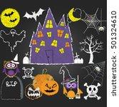 chalkboard halloween elements...   Shutterstock .eps vector #501324610