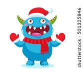 Cute Christmas Monster Vector....