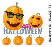 pumpkin wearing hipster glasses ... | Shutterstock .eps vector #501328498