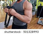 muscular man working out in gym ... | Shutterstock . vector #501328993