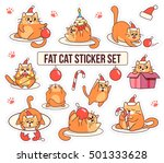 Stock vector fat cat sticker set for christmas and new year holidays cartoon style design vector illustration 501333628