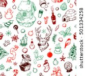 pattern with winter elements.... | Shutterstock .eps vector #501334258