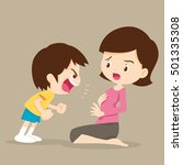 angry boy shouting at mother...   Shutterstock .eps vector #501335308