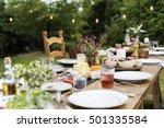 table dishware decor dinner... | Shutterstock . vector #501335584