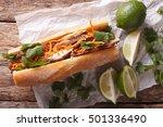 vietnamese pork banh mi... | Shutterstock . vector #501336490