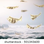 Abstract Flying Dollar Banknot...
