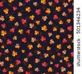 autumn leaves seamless vector... | Shutterstock .eps vector #501346234