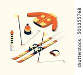 skiing  vector flat isometric... | Shutterstock .eps vector #501355768