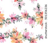 watercolor painted flowers with ... | Shutterstock . vector #501356236