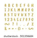 handwritten bold gold font with ... | Shutterstock .eps vector #501358684