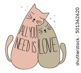 doodle cute cats  with quote... | Shutterstock .eps vector #501362620