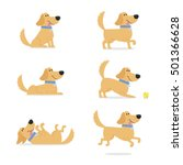 Set Of Dog Poses Vector...