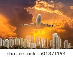 airplane flying take off from... | Shutterstock . vector #501371194