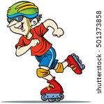 roller skating boy vector on... | Shutterstock .eps vector #501373858