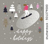 happy holidays. print design | Shutterstock .eps vector #501379000