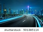 blue neon light highway... | Shutterstock . vector #501385114