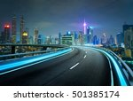 blue neon light highway... | Shutterstock . vector #501385174