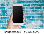 mobile  smartphone with black... | Shutterstock . vector #501385693
