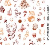 hand drawn winter pattern.... | Shutterstock .eps vector #501393064