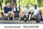 senior group friends exercise... | Shutterstock . vector #501393598