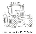 tractor sketch.  | Shutterstock .eps vector #501395614