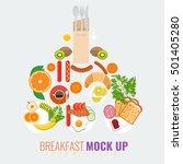 vector breakfast concept with... | Shutterstock .eps vector #501405280