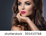 portrait of gorgeous woman with ... | Shutterstock . vector #501415768