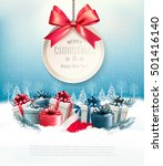 christmas presents with a gift... | Shutterstock .eps vector #501416140