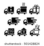delivery truck icon set. pizza  ... | Shutterstock .eps vector #501428824