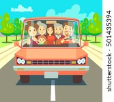 happy family traveling by car... | Shutterstock .eps vector #501435394