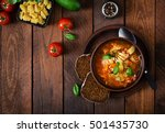 minestrone  italian vegetable... | Shutterstock . vector #501435730