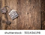house key on a house shaped...   Shutterstock . vector #501436198