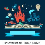 reading book  imagination... | Shutterstock .eps vector #501442024