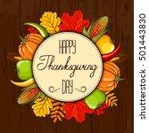 hand drawn card thanksgiving... | Shutterstock .eps vector #501443830
