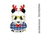 cute portrait of panda boy...   Shutterstock .eps vector #501450964