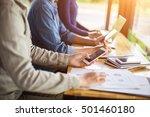 business team working on laptop ... | Shutterstock . vector #501460180