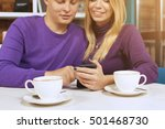 young man and woman looking at... | Shutterstock . vector #501468730
